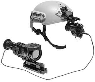 Ultra Portable Head-Mounted Display Unit GSCI HMD-800. Connected to GSCI Thermal device, Lag-free. Helmet mounted. ITAR-free.
