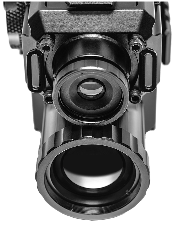 Compact Fusion Thermal Sight GSCI QUADRO-S. Patented Clip-on, Hand-held, Weapon-mounted system. Canadian, ITAR-Free, exportable worldwide.